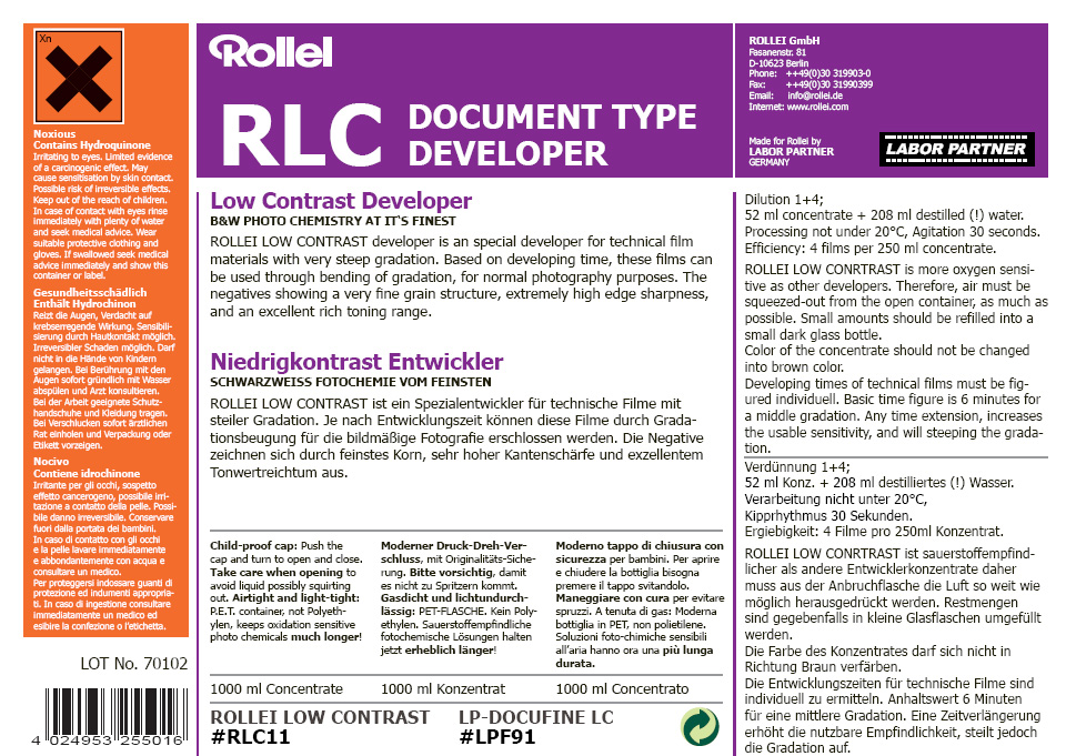 RLC document developer 250ml